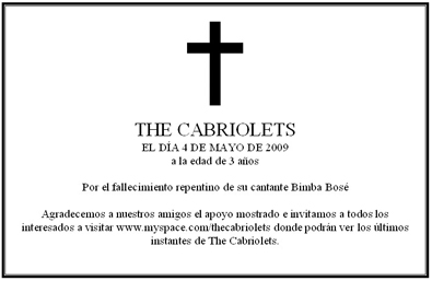 Esquela de The Cabriolets