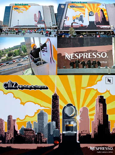 Grafiti para Nespresso Citiz en el Corte Inglés de Castellana