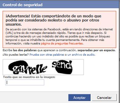 Control de seguridad de facebook