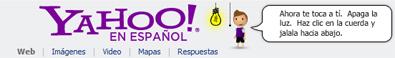 Banner de Yahoo! con motivo de La Hora del Planeta 2010