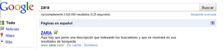 Descripción de Zara en Google